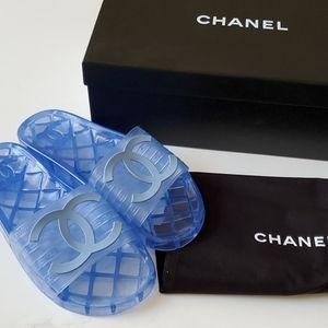CHANEL Pool Slides Blue